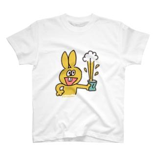 たぬきゅんショップのラビやんと缶 T-shirts