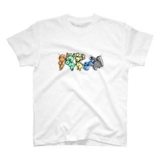 キーチくんと恐竜のパレード T-shirts
