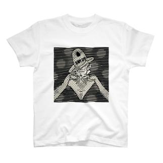 Cosmic tyranno girl monotone T-shirts
