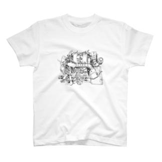 Alfaromeo Engine black T-shirts