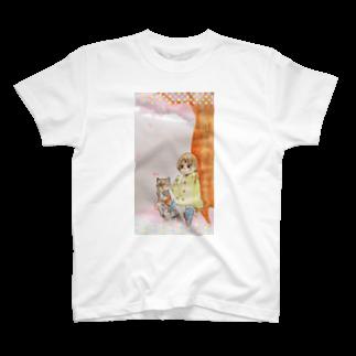アンセルの猫と女の子と桜 T-shirts