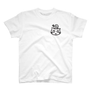 でんでんむちむちとねこさん 白 T-shirts