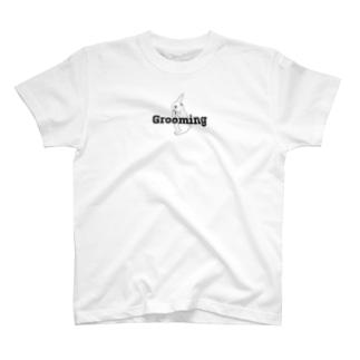Grooming ウサギ ブラック  T-shirts