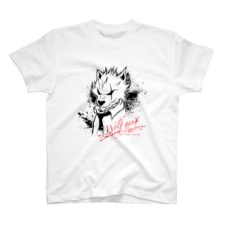 wolf gangホワイトデザイン T-shirts