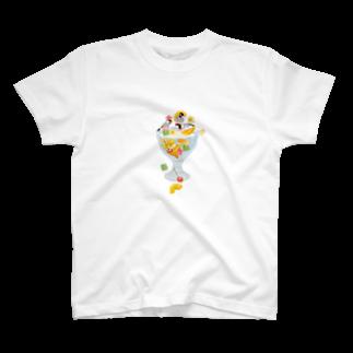 文鳥中心のみつ豆桜文鳥 T-shirts