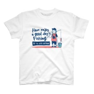 (釣りざんまい)一日釣りを楽しむアングラー T-shirts