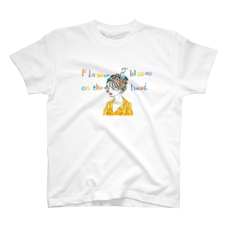 Flower blooms on the head. T-shirts