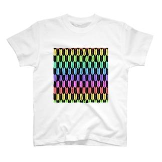 レオナのYagasuri(Pastel Rainbow - Black) T-shirts
