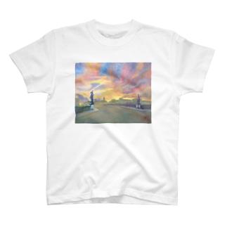 サンタトリニタ橋夕焼け T-shirts