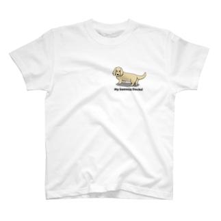 ダックスイエロー(両面2) T-shirts
