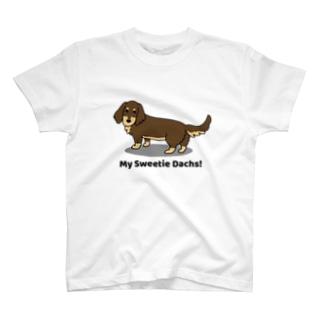 ダックスチョコタン(両面) T-shirts