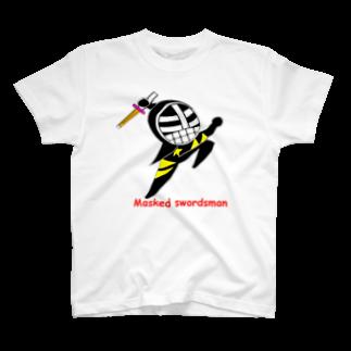 剣道グッズ 覆面剣士マスクドスウォーズマン 剣道TシャツのMasked black T-shirts