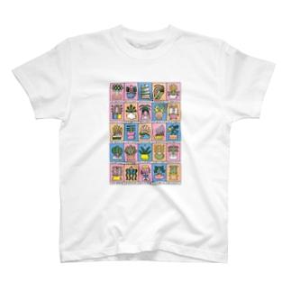 鉢植えの植物たち 緩色 T-shirts
