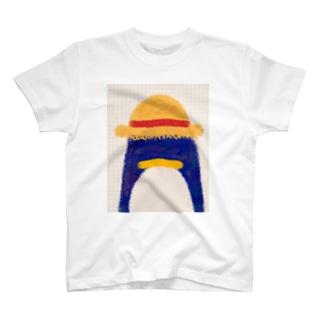 帽子屋シリーズ ペンギンの麦わら帽子 T-Shirt