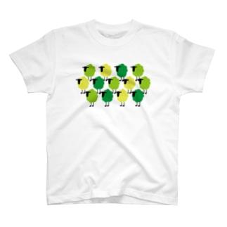 羊の群 緑 T-shirts