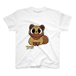 てんてけ山のたぬきさん/マエカケ T-shirts
