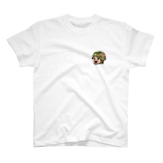 AKIRAMBOWのしょーちゃんのワンポイントT ミリタリーヘルメット T-shirts