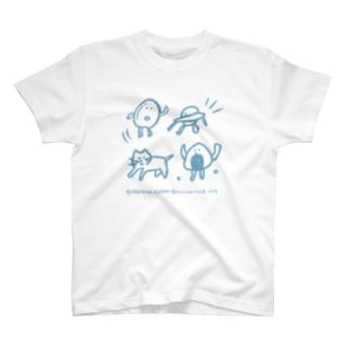 たまご・ユーホー・ネコ・おにぎり ブルー T-shirts