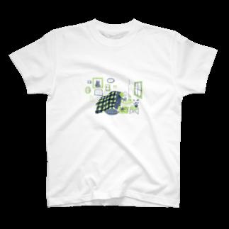BENIBARAのひとねこ「夜ふかしねこ」 T-shirts