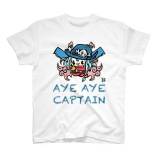 ☠️AYE AYE CAPTAIN☠️カラー前面プリント T-shirts