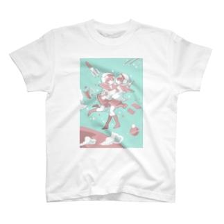 宇宙と女の子(水色) T-shirts