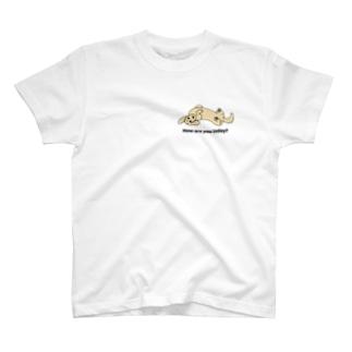 ダックス2(ワンポイント)イエロー T-shirts