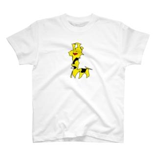 足で描いたきりん T-shirts