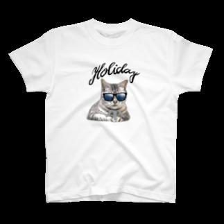 PeshitanのHoliday 黒 足跡付き T-shirts