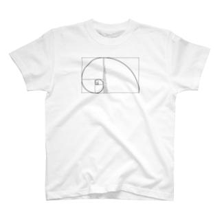 フィボナッチ数列右巻数字入 T-shirts