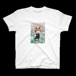 くつしたねこのクローバーとスカル子ちゃん T-shirts