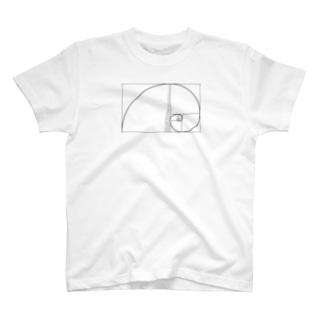フィボナッチ数列左巻き数字入 T-shirts