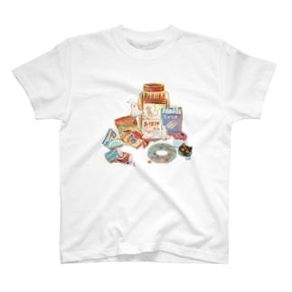 駄菓子好きおばけTシャツ T-shirts