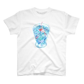ひたされて光るはつなつ こごりかけソーダゼリーのプールがひらく T-shirts