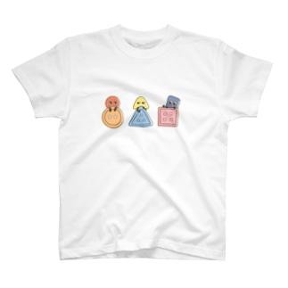 まるさんかくしかくボタン T-shirts