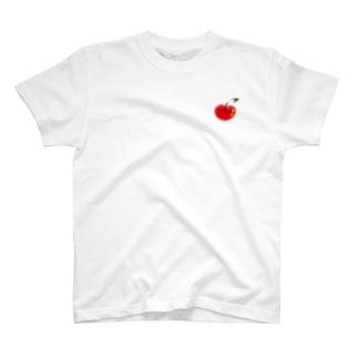 赤りんごのワンポイント T-shirts