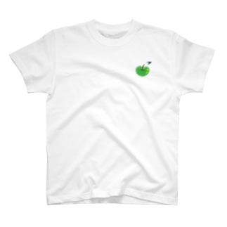 青りんごのワンポイント T-shirts