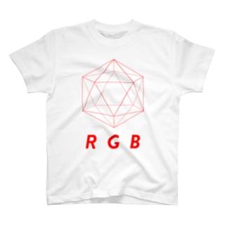 regular icosahedron RGB red T-shirts
