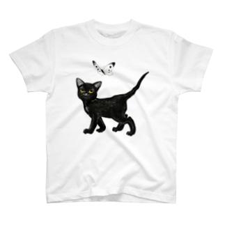 黒猫と紋白 T-shirts