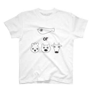 フィッシュorミート  ホワイト T-shirts