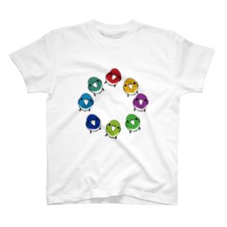カラフル小鳥のTシャツ T-shirts