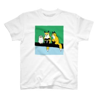 フクロウとキツネ T-shirts