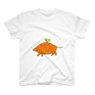 ゼンマイ仕掛けのいのしし T-shirts