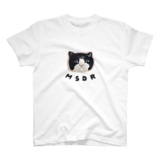 目ガ死ンデルネコ:ハチワレ T-shirts