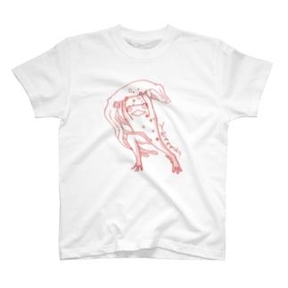ダイオウイカとカエル(赤) T-shirts