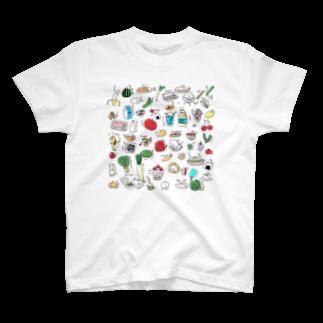 いそがしくてもメシのたべものふれんず T-shirts
