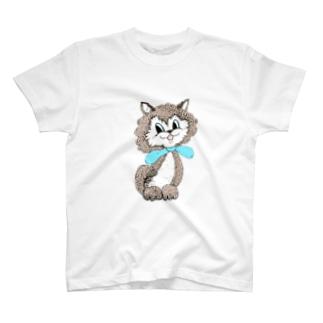 ブルーレトロキャット大 T-shirts