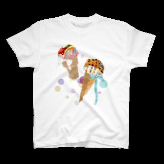 モノク楽壱のカラフルあいすくりん T-shirts