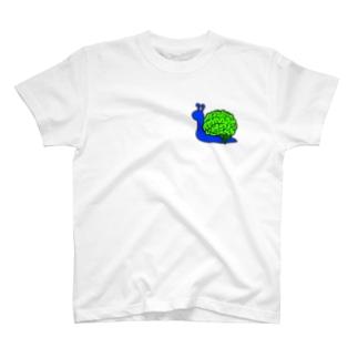 カタツムリ 青×緑 T-shirts