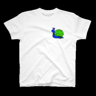 que;♱opusのカタツムリ 青×緑 T-shirts