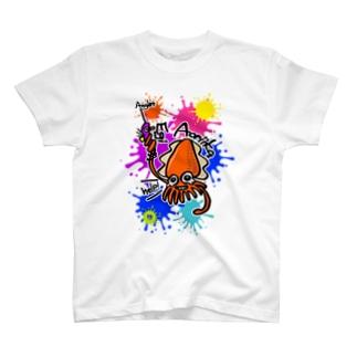 (釣りざんまい)エギに釣られるアオリイカ ビビットカラーバージョン T-shirts